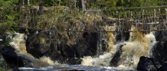 Рускеальские водопады веревочный мост