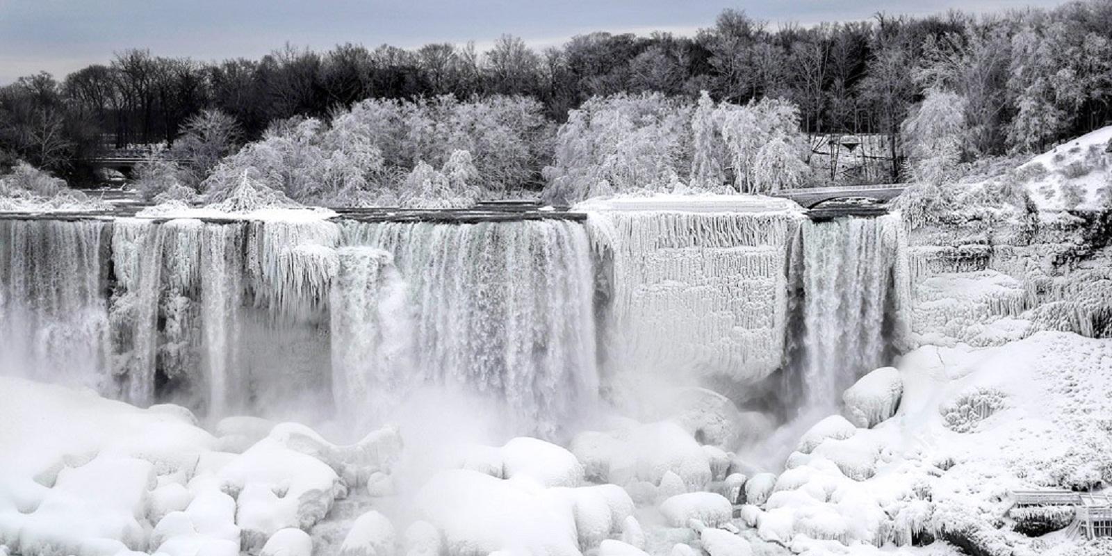 ниагарский водопад замерз панорама