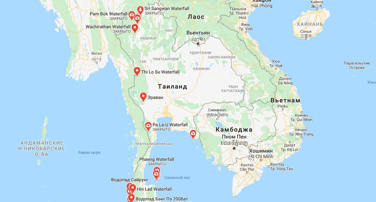 Водопады Таиланда на карте